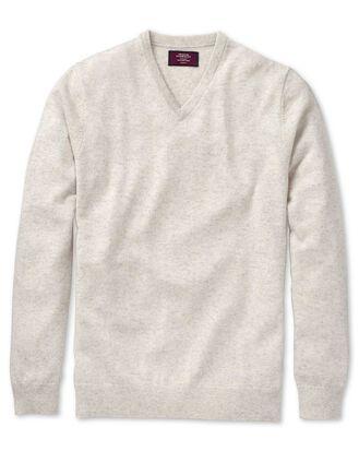 Chalk white cashmere v-neck sweater