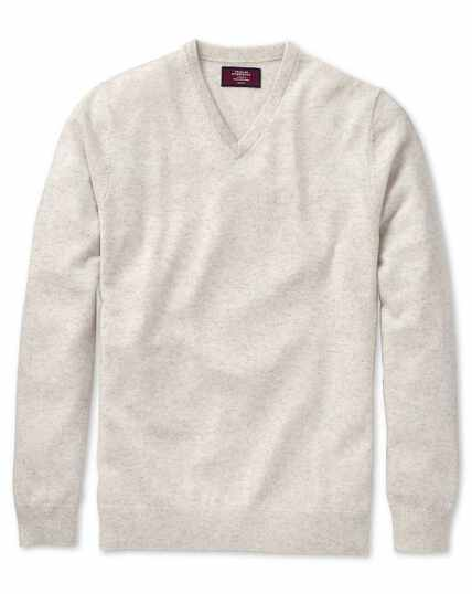Chalk white cashmere v-neck jumper