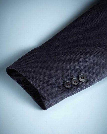 Slim Fit Luxusblazer aus italienischer Mohairwolle mit Seide in Marineblau