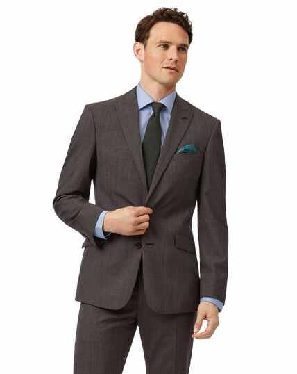 Brown Prince of Wales check slim fit suit jacket