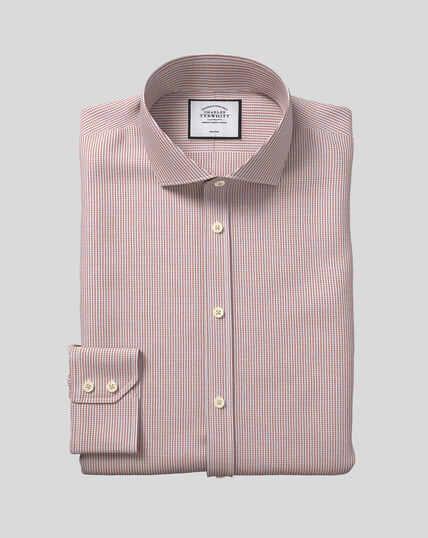 Spread Collar Non-Iron Dobby Shirt - Berry