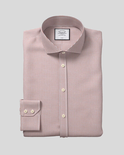 Spread Collar Non-Iron Dobby Shirt - Berry