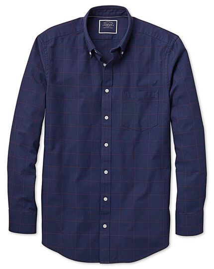 Classic fit navy and red check washed Oxford shirt