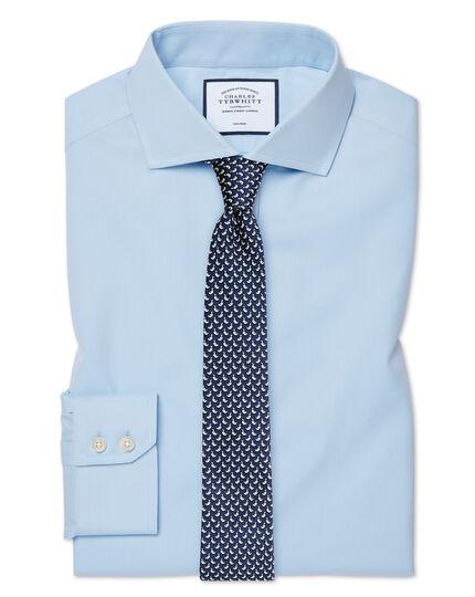 Chemise bleu ciel en popeline sans repassage extra slim fit avec col cutaway