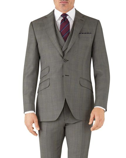 Silver slim fit Italian sharkskin luxury check suit jacket
