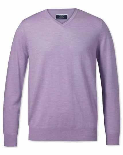 Lilac merino v-neck jumper