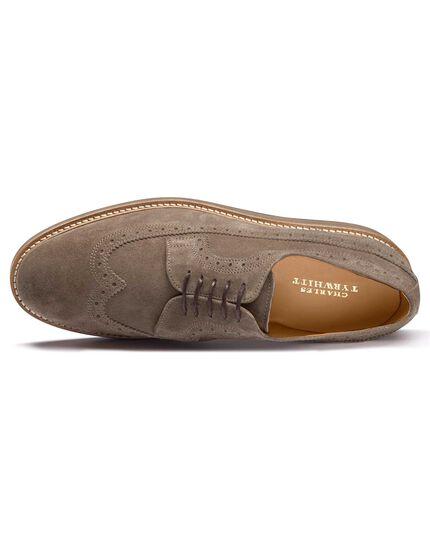 Derby-Schuhe aus Wildleder in Hellbraun