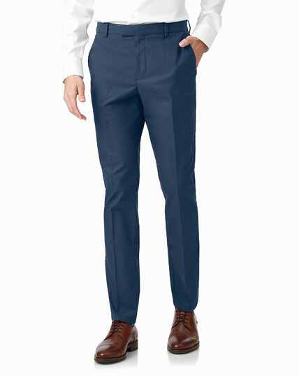 Bright blue non-iron stretch textured trousers