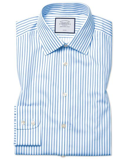Extra slim fit non-iron twill white and sky blue stripe shirt