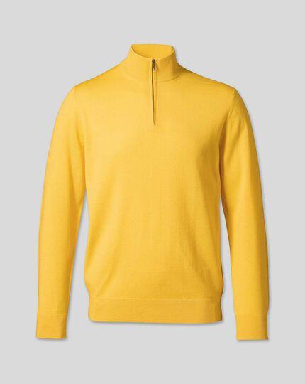 Merino Zip Neck Jumper - Yellow