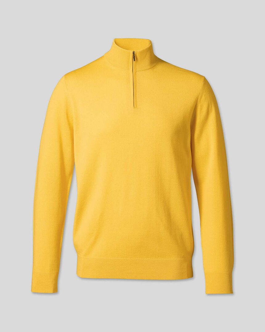 Merino Zip Neck Sweater - Yellow