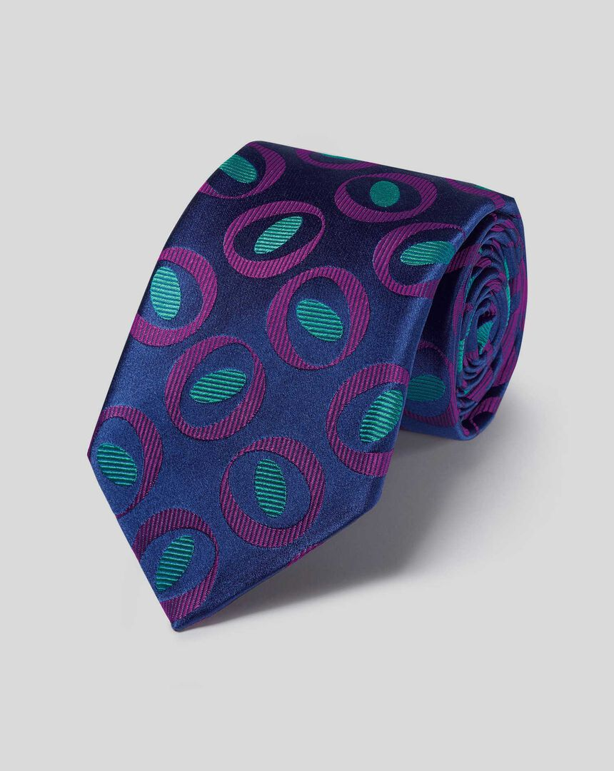 Englische Luxuskrawatte aus Seide mit geometrischem Kreismuster - Marineblau & Violett