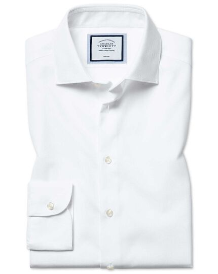 Classic fit non-iron natural stretch white shirt