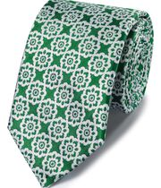 Green and white floral classic tie