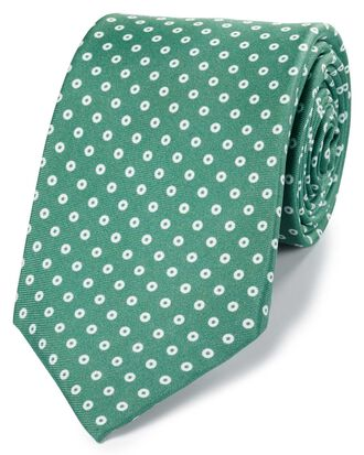 Green luxury silk English 7-fold tie