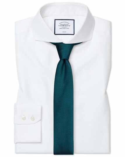 Slim fit white non-iron twill extreme spread collar shirt
