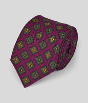 Cotton Silk Print Italian Craft Luxury Tie - Burgundy