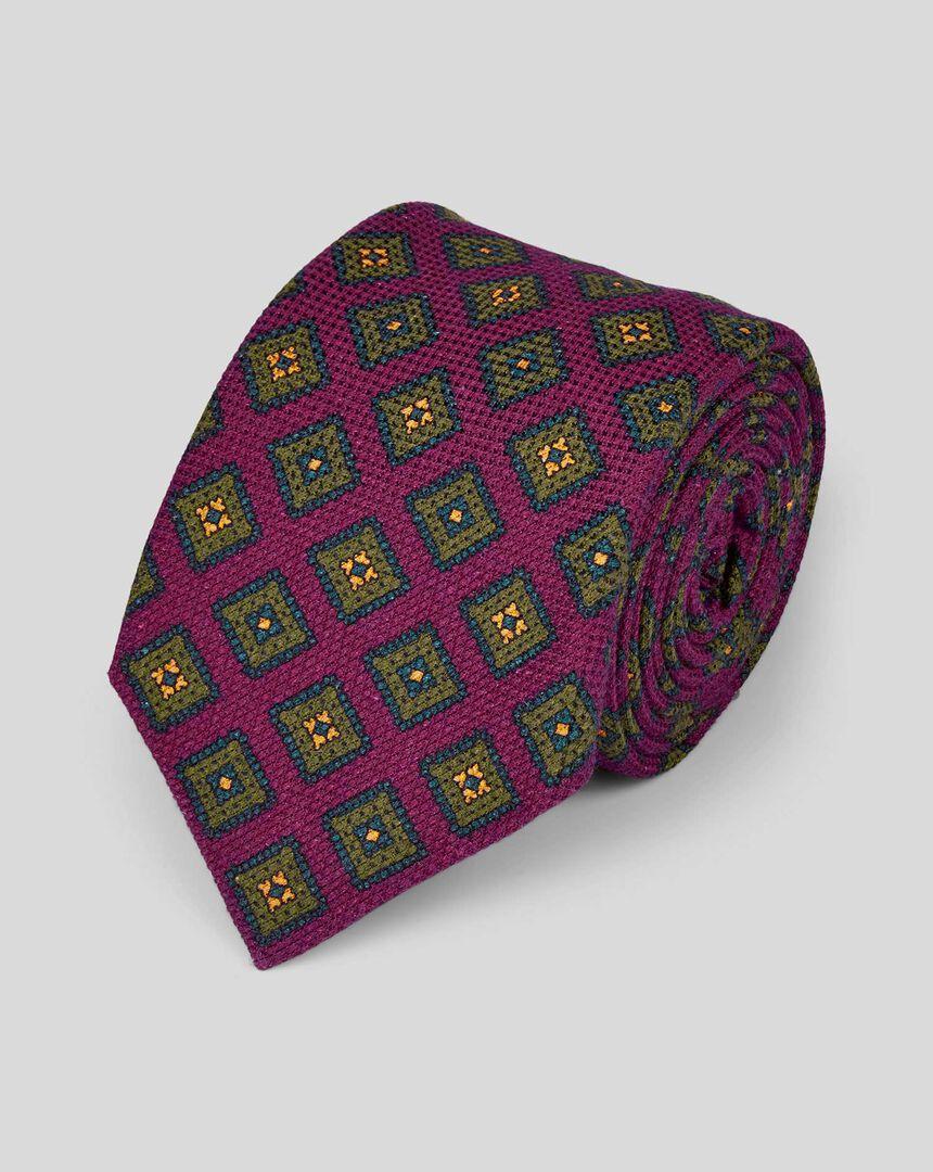 Cotton Silk Print Italian Craft Luxury Tie - Burgundy