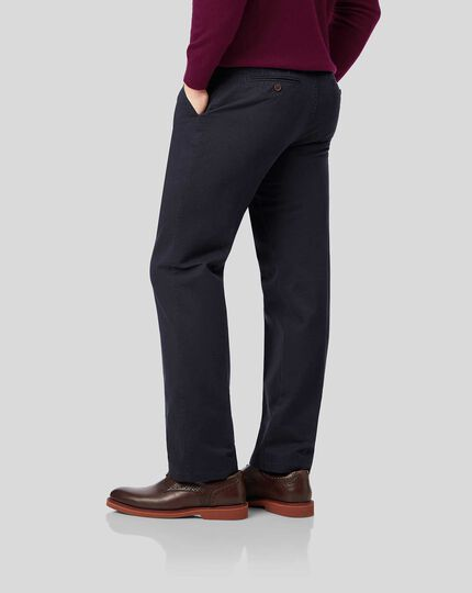 Flat Front Soft Washed Chinos  - Navy