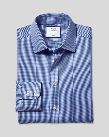 Non-Iron Puppytooth Shirt - Royal Blue