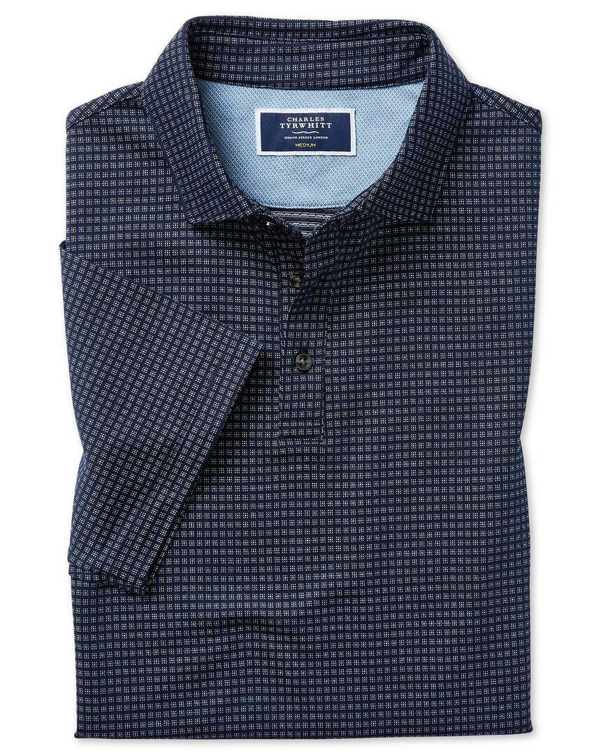 Blue square jacquard short sleeve polo