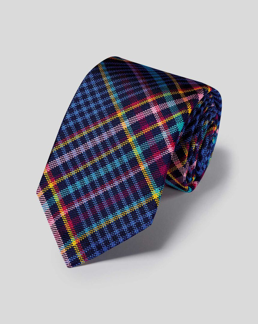 Silk Multi Check English Luxury Tie - Blue & Red