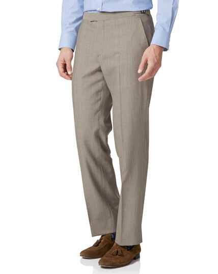 Natural Panama classic fit British suit trousers