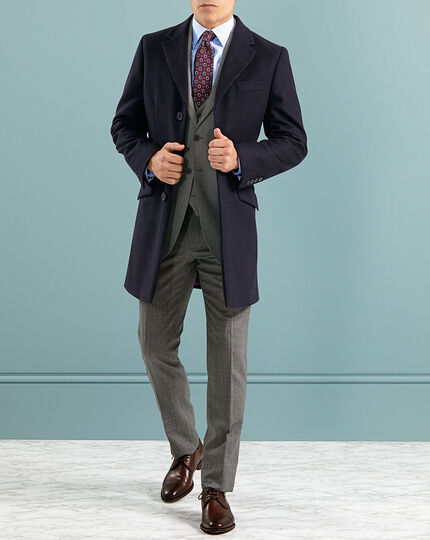 Navy Italian wool and cashmere Epsom overcoat