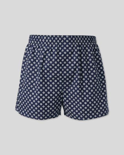 Woven Boxers - Navy Printed Square
