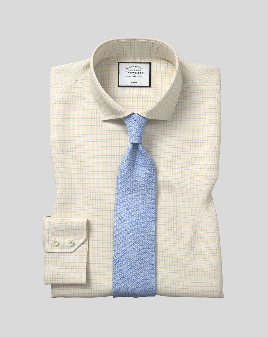 Spread Collar Non-Iron Grid Check Shirt - Yellow