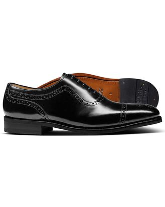 Black Goodyear welted Oxford brogue leather sole shoe