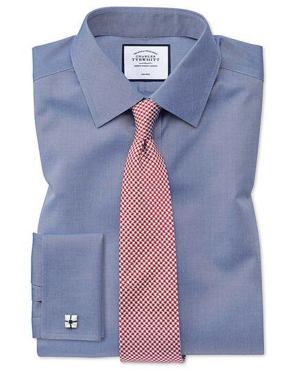 Bügelfreies Classic Fit Twill-Hemd in Mittelblau