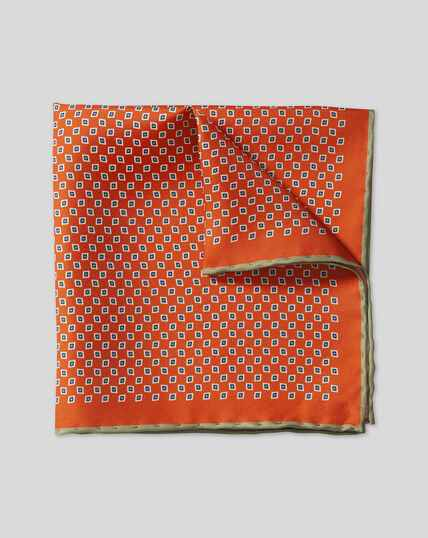 Mini Geometic Print Pocket Square - Orange