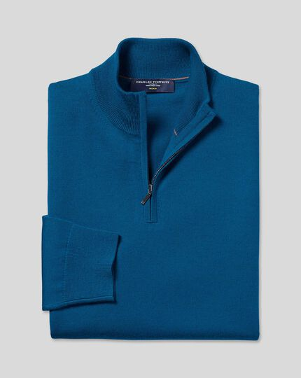 Merino Zip Neck Sweater - Petrol Blue