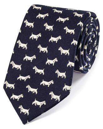 Cravate de luxe bleu marine en laine anglaise à imprimé terrier écossais