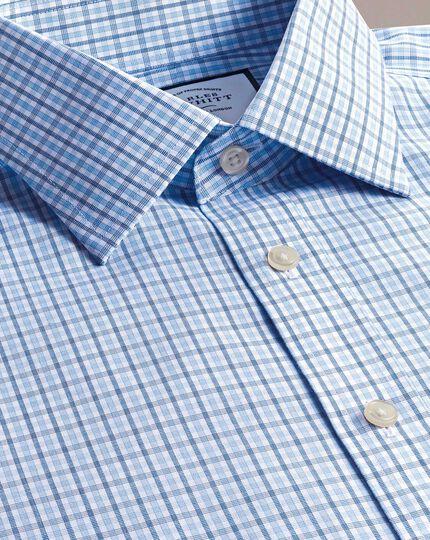 Slim fit non-iron poplin blue and sky blue shirt