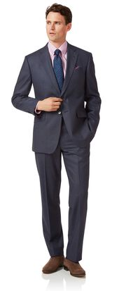 Airforce blue classic fit flannel business suit