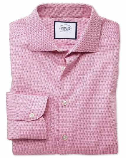 Slim fit semi-spread collar business casual non-iron modern textures pink dash shirt