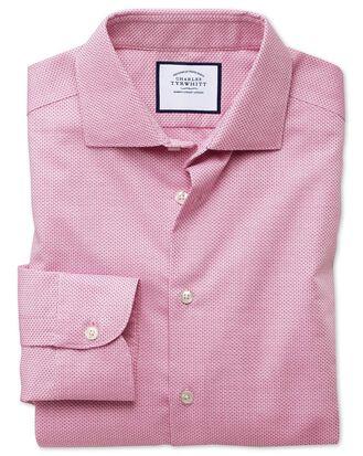 Extra slim fit semi-cutaway business casual non-iron modern textures pink dash shirt