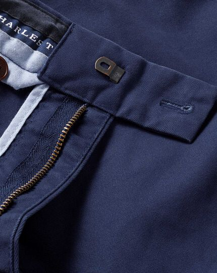 Blue slim fit flat front weekend chinos