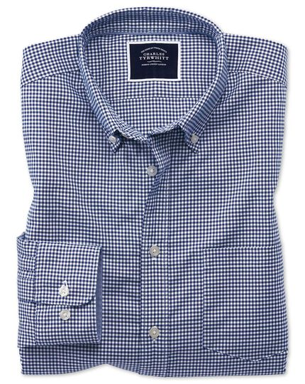 Slim fit royal blue gingham soft washed non-iron stretch shirt