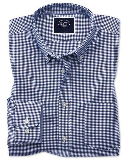 Chemise bleu roi en tissu stretch slim fit à carreaux vichy à délavage doux sans repassage
