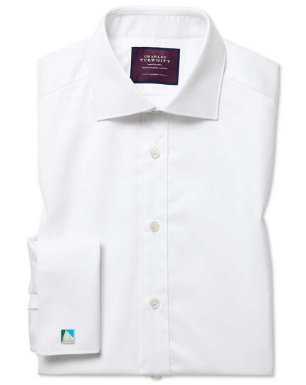 Extra slim fit semi-spread collar luxury twill white shirt