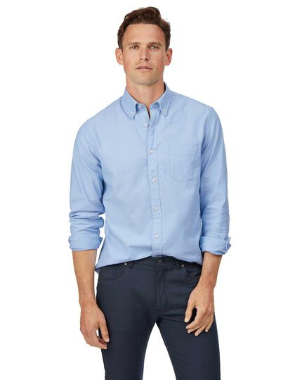 Classic fit sky button-down washed Oxford plain shirt