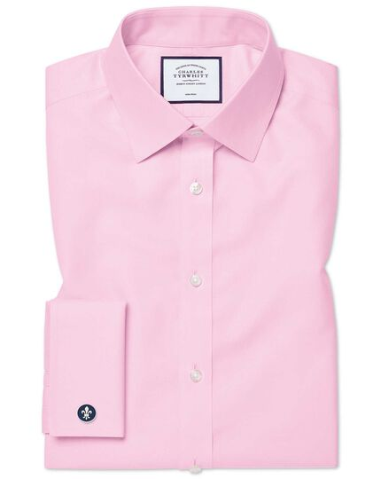 Classic fit non-iron twill pink shirt
