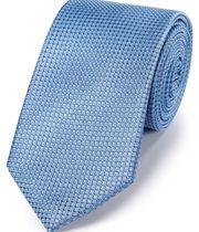 Klassische Krawatte aus Seide mit Nadelpunkten in Faux-Uni Himmelblau