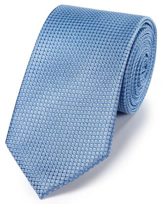 Sky blue silk pindot semi plain classic tie