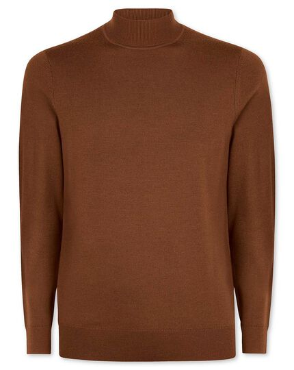 Brown merino turtle neck sweater