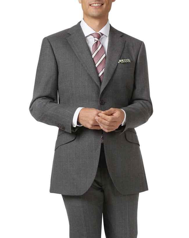 Charcoal slim fit British serge tan stripe luxury suit