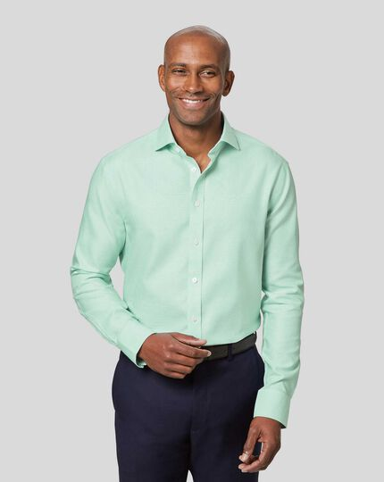 Spread Collar Non-Iron Ludgate Weave Shirt  - Green